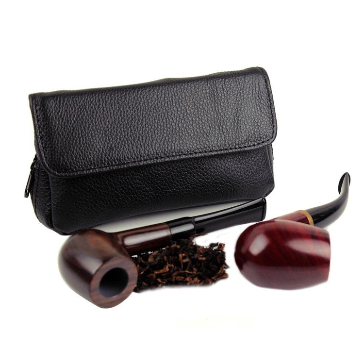 Health Secure Soft Genuine Leather Preserve Freshness pipe tobacco pouches case with 2 pipe holder pocket