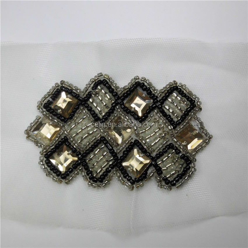 High quality crystal Acrylic rhineston applique sew on beaded applique patches on mesh &organza