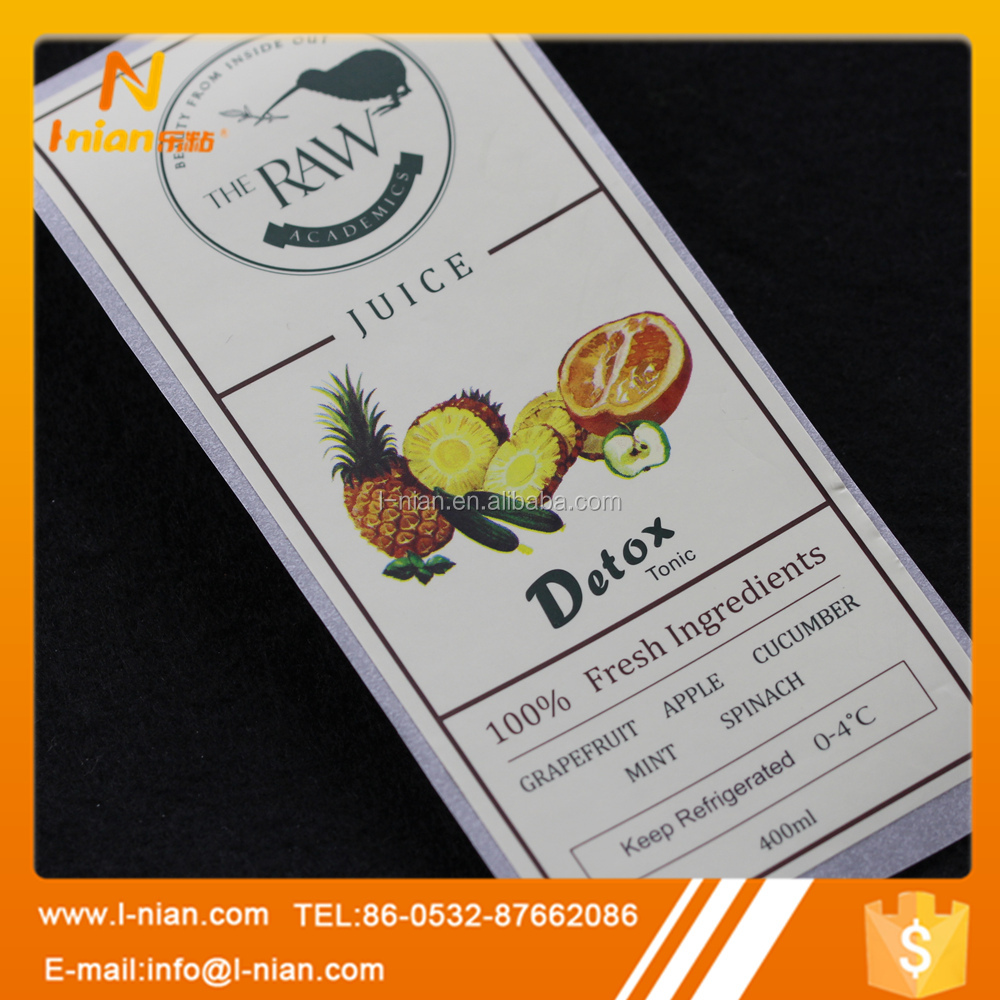 self adhesive soft drink juice bottle label