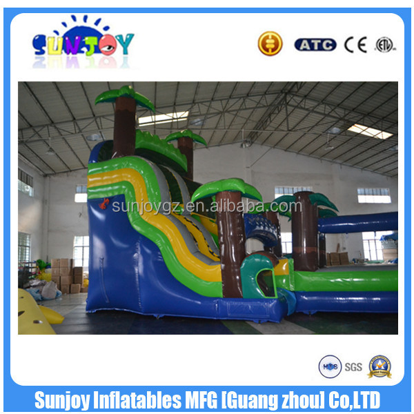Commercial Tropical Inflatable Jungle Water Slides / Kids Palm Tree Slip N Slide
