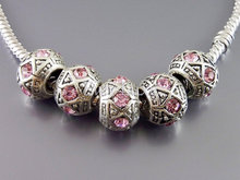 Glowing Alloiy Beads With Colored Rhinestone Charms