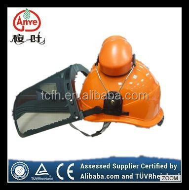 Forestry safety helmet face shield with mesh face shield and ear muff passed CE