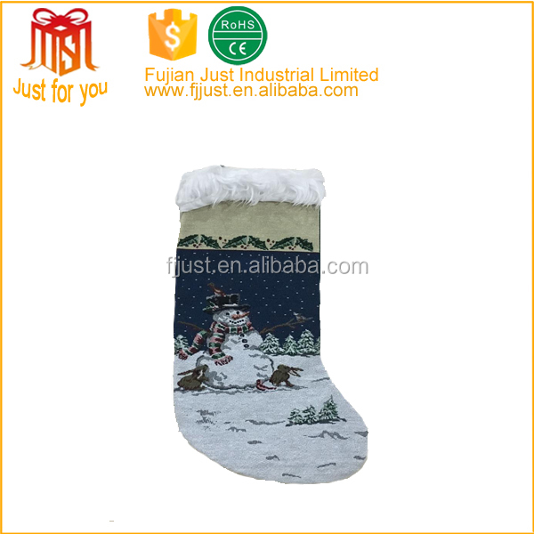 hot new production fiber optic hanging christmas stocking with snowman