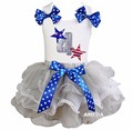 Silver White Blue Star Bow Petal Tutu with Bling Happy 4th July White Tank Top