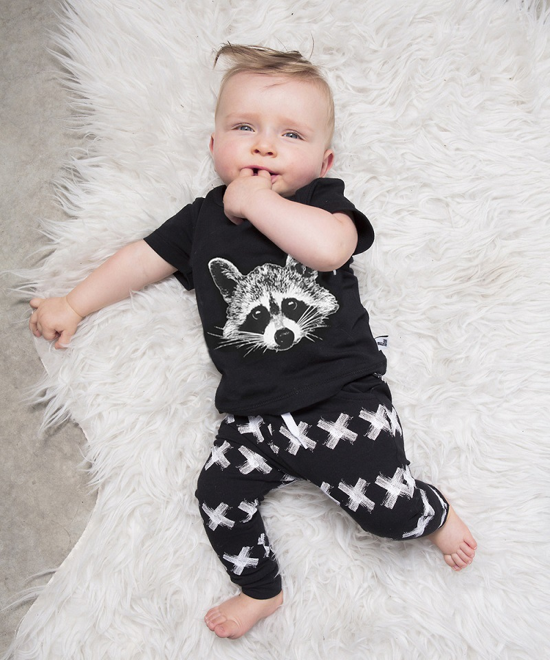 Newborn Clothing Sets Summer Baby Boys Clothes O-Neck Carton Print Black Fashion Kids Suits T-shirt+Pants 0-34Years