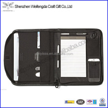 high quality a6 leather conference folder a6 size leather portfolio with notepad Leather Zippered Padfolio