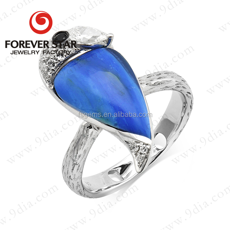 2015 Hot Sale Natural Peruvian Blue Opal 14K White Gold New Design Gold Finger Ring Rings Design for Women with Price
