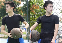 2015 NEW Tight Fitness Men Shirts Bodybuilding Basketball Quick-dry Leisure Sports T-shirts For Free Shipping 1023