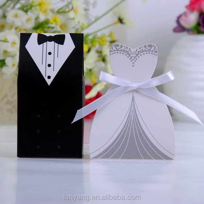 Bride Groom Dress Tuxedo Party Wedding Favor Ribbon Candy Boxes Gift