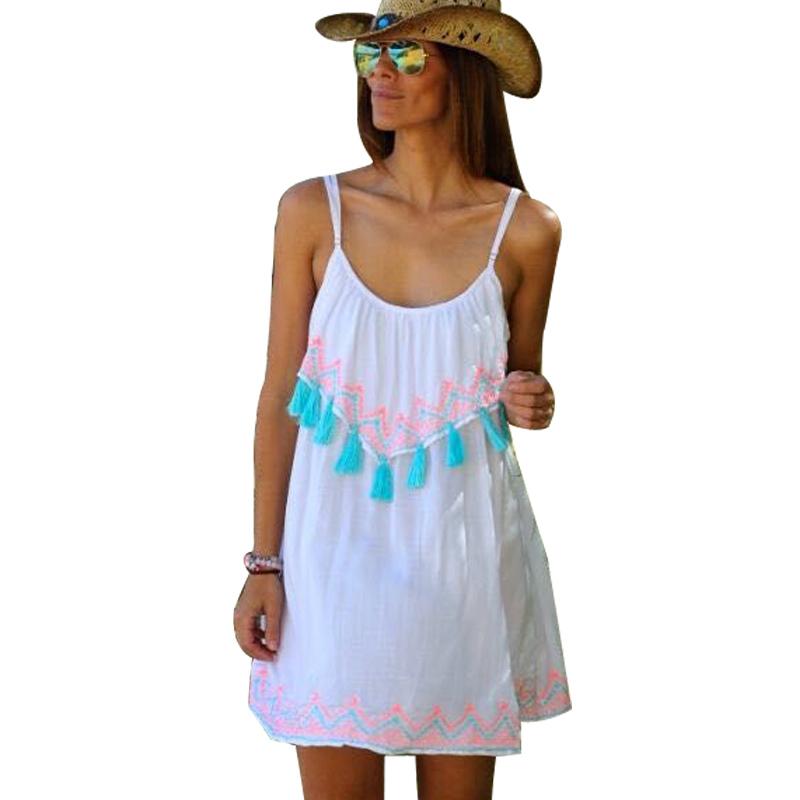 Buy Summer Tassel Vestidos Dress Girls Mini Spaghetti Strap Cute