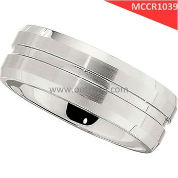 Gentle man style Beveled Grooved sloting band,satin finish cobalt rings for father