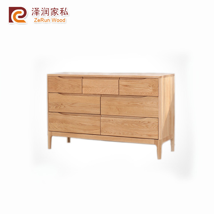Solid oak latest natural color wooden furniture designs 3+4 drawer cabinet