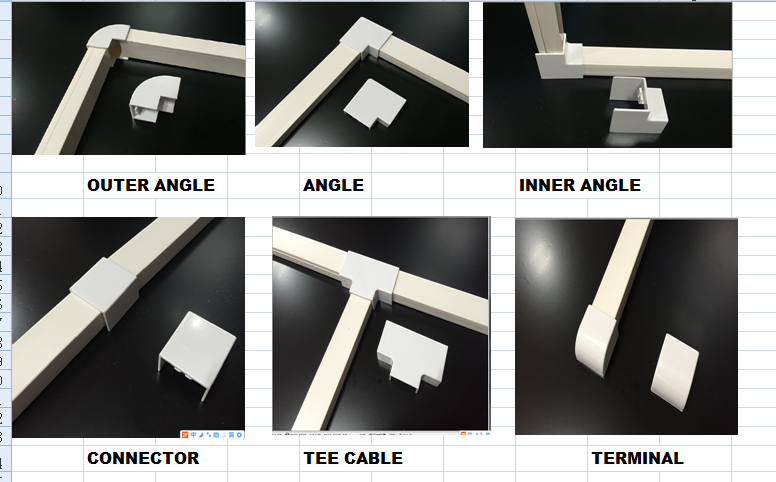 high quality pvc trunking fittings 16x16, 20x10 at all sizes