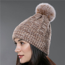 Plain ladies flex fit rabbit fur pompom knitting hat beanie