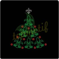Custom Transfers Crystal Fleur De Lis Hotfix Christmas Tree Motifs