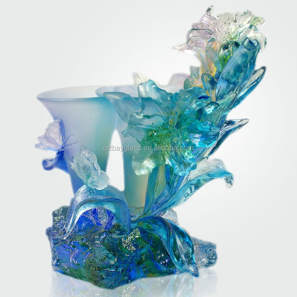 Artbay blue crystal glass calla Lily flower for wedding gift