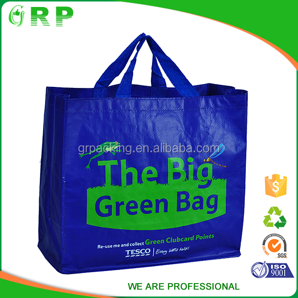 Foldable grocery shopping bag laminated pp woven tote shopping bags