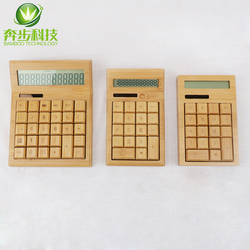 10 digits display bamboo buttons dual power desktop calculator with good touch feeling