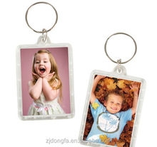 Transparent Blank keychain Insert Photo Picture Frame Key Cain plastic keychain photo holder