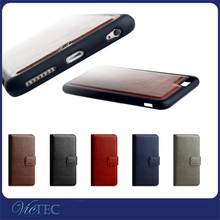OEM 4 card slots photo frame detachable wallet leather case for iphone 6