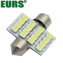 EURS Car reading bulb 2w 31mm 36mm 39mm 41mm 12v 1210 16smd led dome light with STROBE FUNCTION