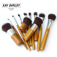 11pcs Natural Bamboo Professional Makeup Brushes