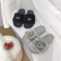 QX4126 Korea's new leisure fashion antiskid shoes fruits pineapple embroidery slippers