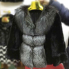 luxury design mink fur jacket with silver fox fur collar