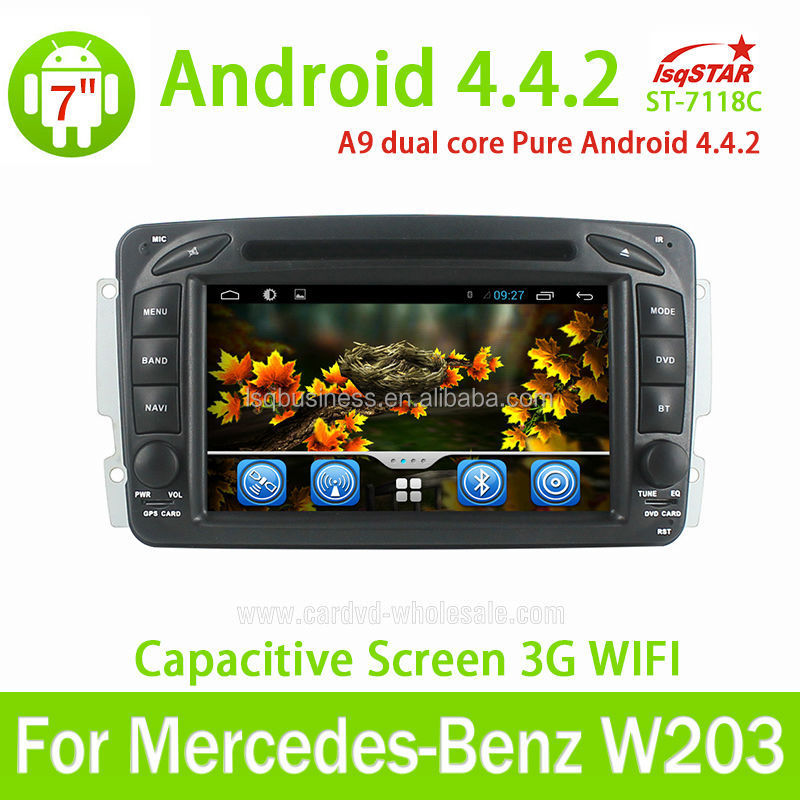 Android 4.4+3G+Wifi+DVD+Radio+BT phonebook+Ipod list+USB+SWC For Mercedes W203 Car DVD Radio GPS