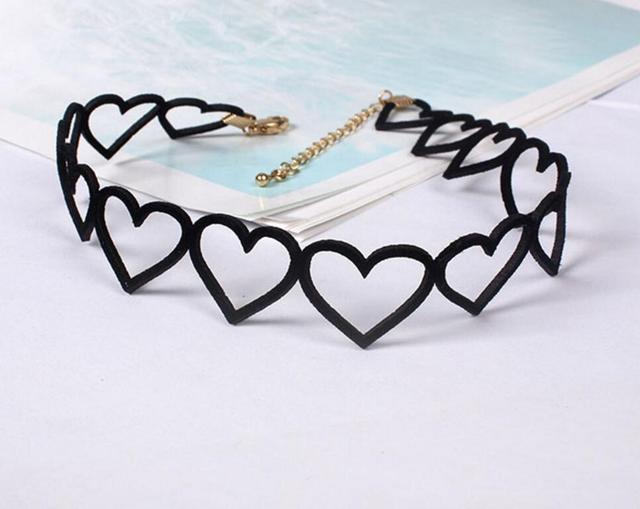 N003  Beautiful Fabric Hollow Out Heart Summer Beach Black Short Chokers Necklaces Wholesale