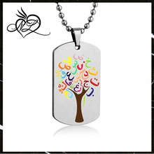 Arabic Alphabet Tree Color Necklace Pendant with Stainless Steel Chain
