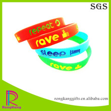 fashion repeat rave sleep debossed color filled silicone bracelet