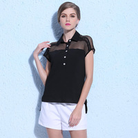 Free Shipping latest fashion lady hollow out mesh and chiffon blouse designs for office S-L