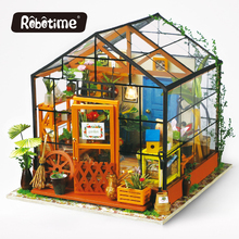 Robotime girl doll house furniture toy diy miniature room diy wooden dollhouse box products