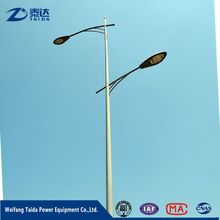 9 Meters Height Q345 Double arm Street Lighting Pole with HDG Surface