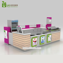 Modern fried roll ice cream kiosk , 3d roll ice cream display kiosk design for mall