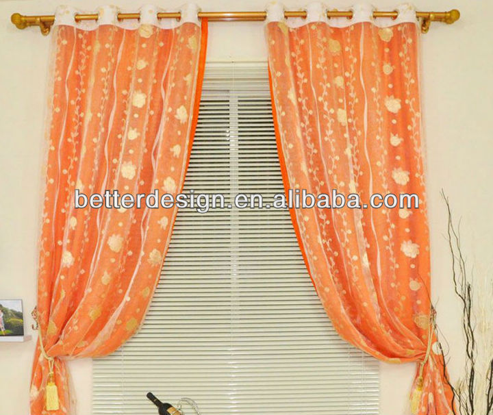 Two Layer Embroidery Lace Curtain Fabric With Organza Curtain