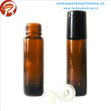 10ml amber roll-on glass bottle with roller ball and plastic cap