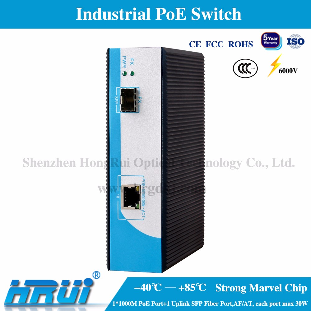 2 port Industrial Extreme PoE PSE Switch for IP camera/wireless APP -40~85 wide temperature/voltage with SFP port