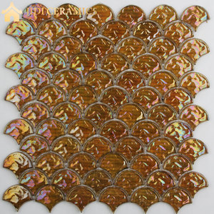 Fish Scale Color Changing Glaze Crystal Pearl Glass Enamel Mosaic Tile