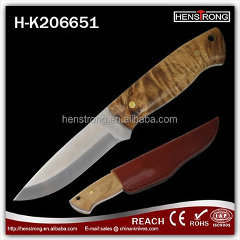 Burl Wooden handle Out door knife 440A steel blade