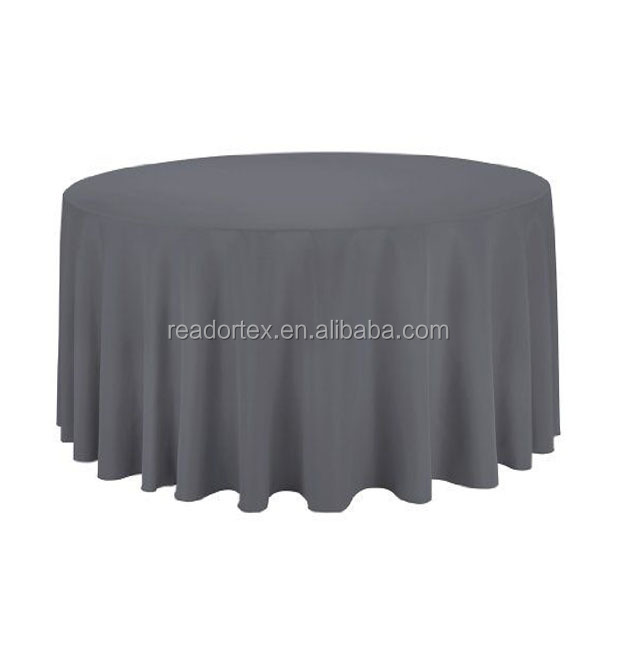 grey 120 inch polyester round table cloth for hotel