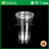 Ebelee disposable 32oz clear plastic cup pet cup with lid