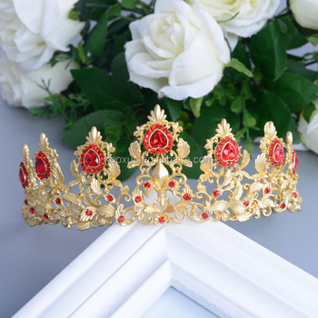 Indian style red crystal tiara