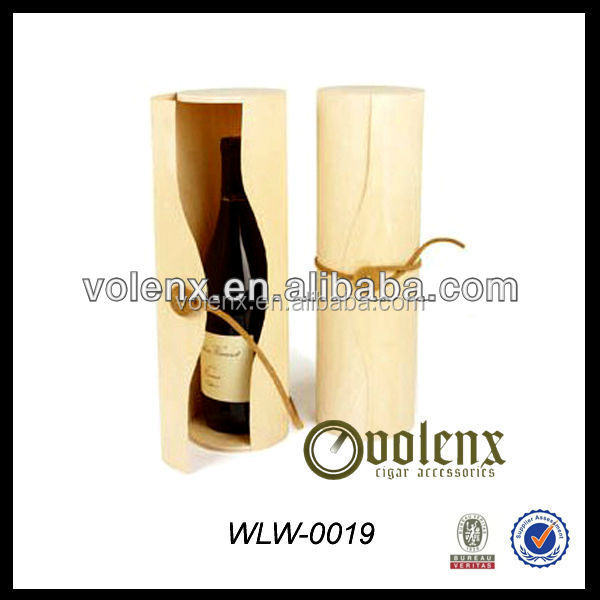 Custom Single Bottle Cardboard Paper wooden Round Wine Gift Box