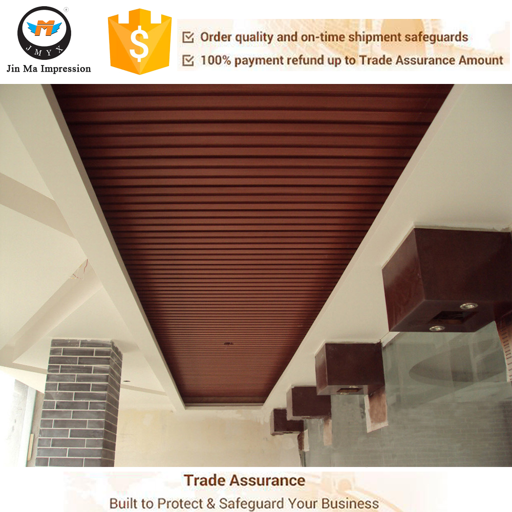 Water Proof Balcony Wood Plastic Composite WPC Modern Hall False Ceiling Designs