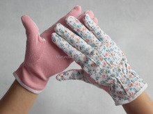 PVC dots on palm garden gloves for lady working pvc dot cotton glove