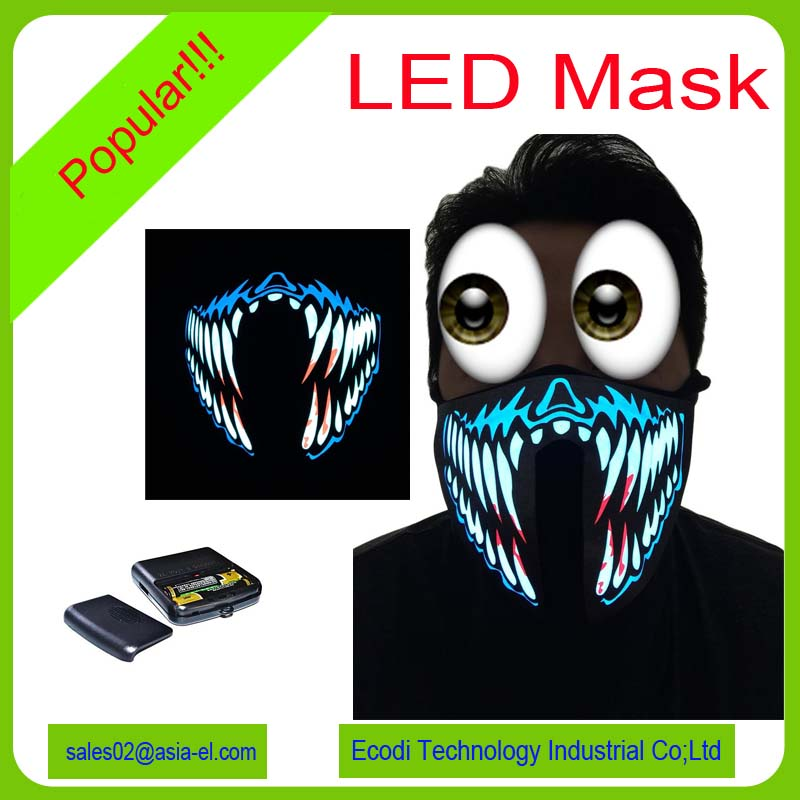 High brightness led glowing mask/el mask/party led mask with 2AAA inverter