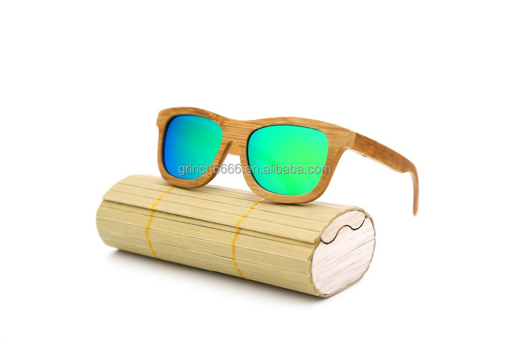 2017 100% Natural fashion Bamboo Wooden Sunglasses Handmade Polarized Mirror Coating Lenses Eyewear