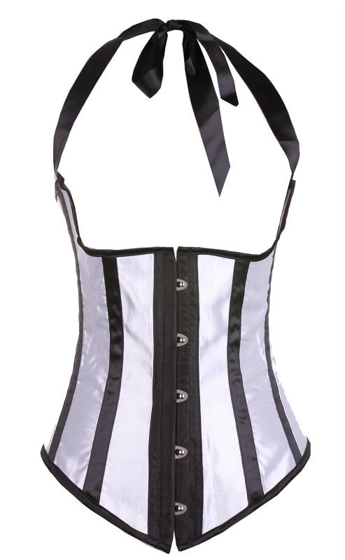 Fashion Black And White Striped Corselete Sexy Underbust Corset With Straps Women Body Straitjacket Waist Training Corselet